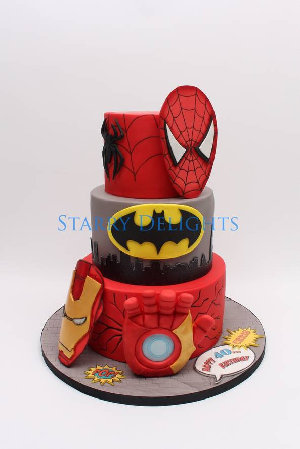 Spiderman, batman, ironman cake